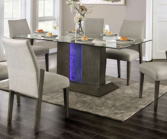 Furniture of America Turton Gray Pedestal Base Glass Top Dining Table