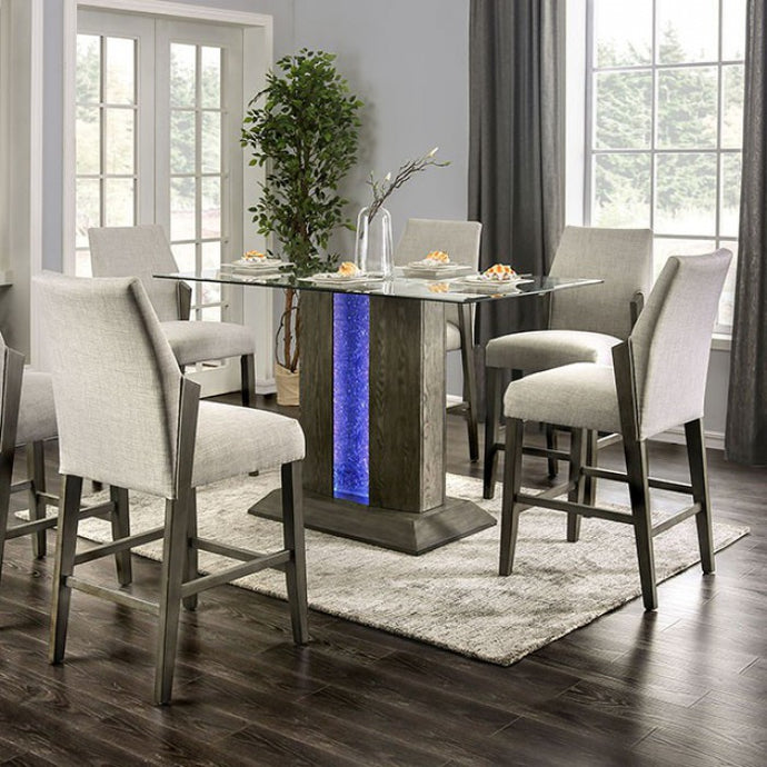 Furniture of America Turton II Gray Glass Top Counter Height Table