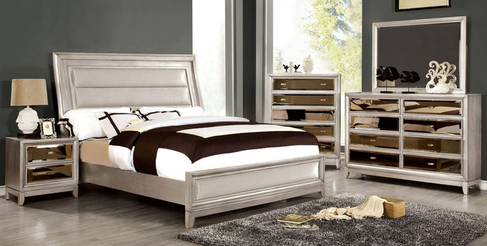 Furniture of America Golva Contemporary Silver Eastern King Bedroom Set