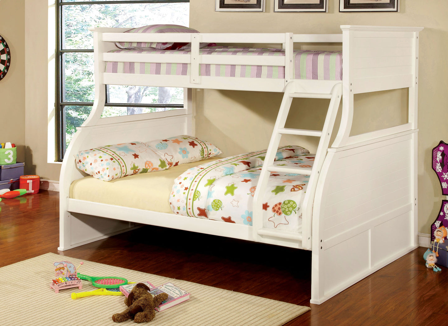 Furniture of America CM-BK923 Canova White Twin over Full Bunk Bed