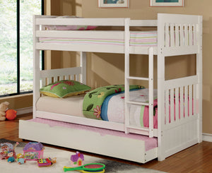 Furniture of America Canberra White Twin over Twin Trundle Bunk Bed