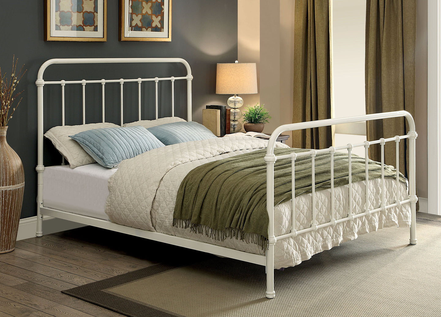 Iria CM7701WH-T Contemporary Vintage White Metal Twin Bed