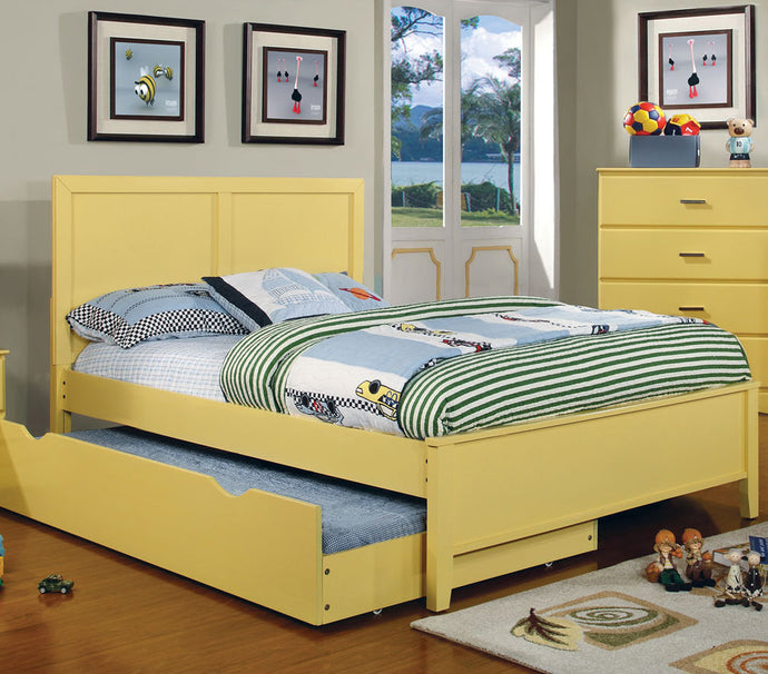 Prismo Youth Kids Yellow Twin Platform Storage Trundle Bed CM7941YW-T
