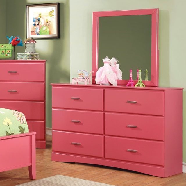 Prismo Youth Kids Pink 6-Drawer Dresser Mirror Set CM7941PK-D