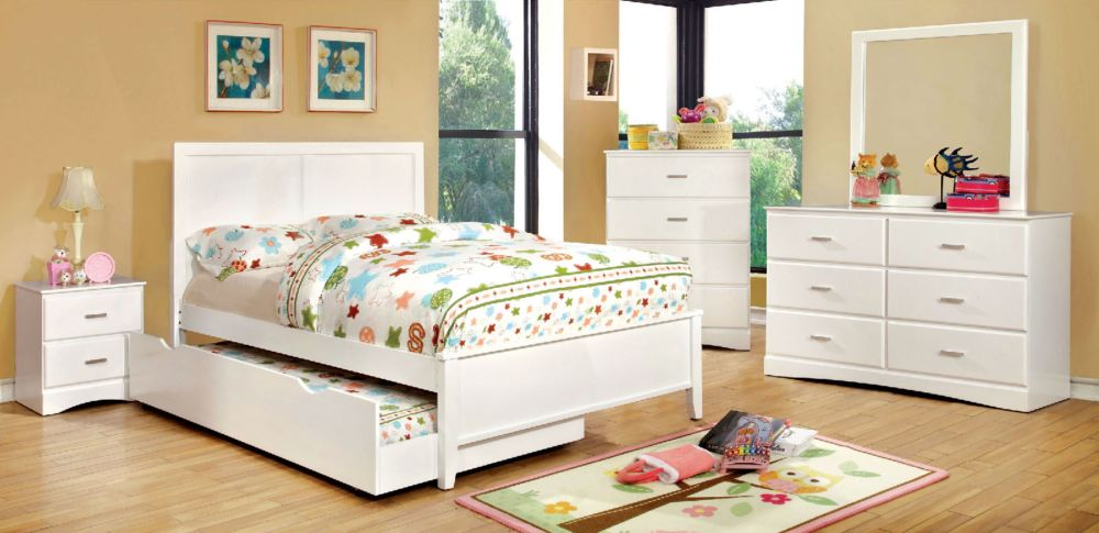 Prismo 5Pcs Youth Kids White Full Platform Storage Trundle Bedroom Set