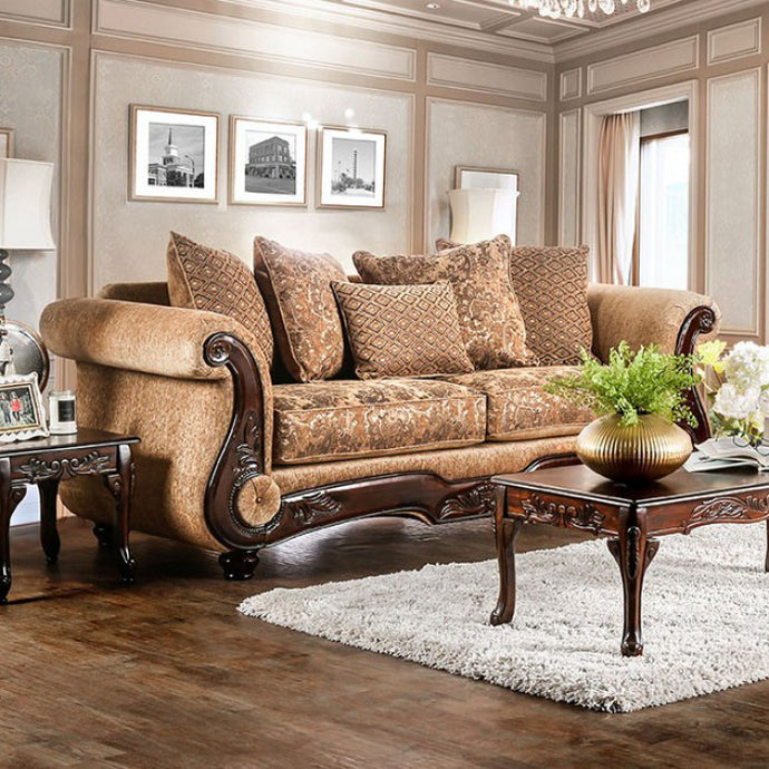 Furniture of America Nicanor Traditional Tan & Gold Upholstery Sofa