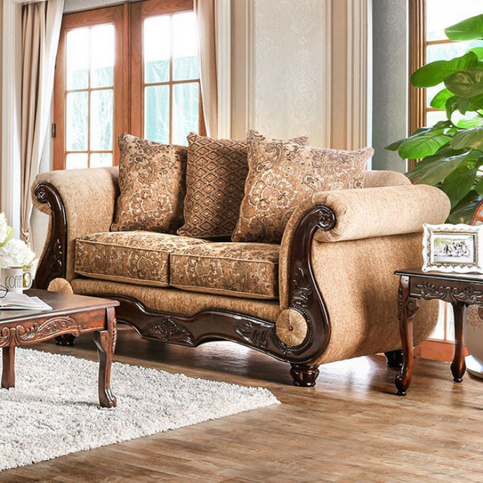 Furniture of America Nicanor Traditional Tan & Gold Upholstery Loveseat