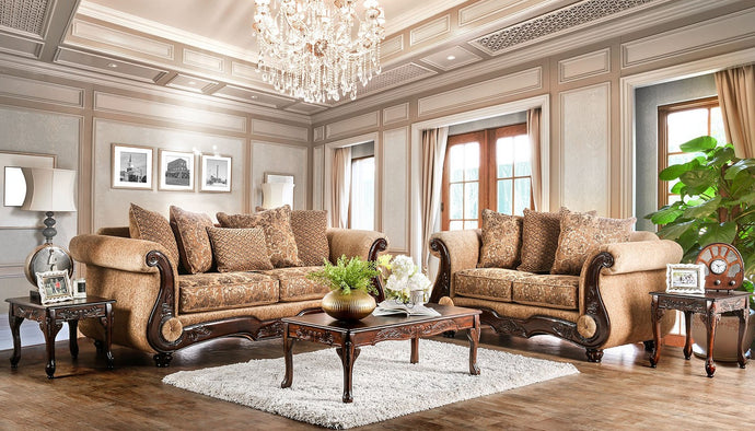 Furniture of America Nicanor 2 Piece Tan & Gold Upholstery Sofa Set