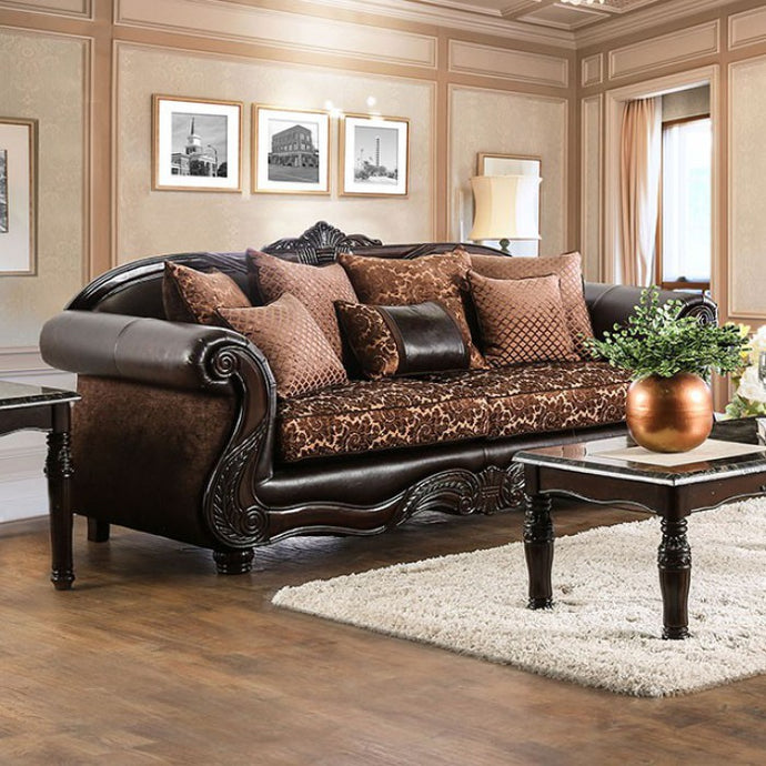 Furniture of America Elpis Traditional Brown/Espresso Upholstery Sofa