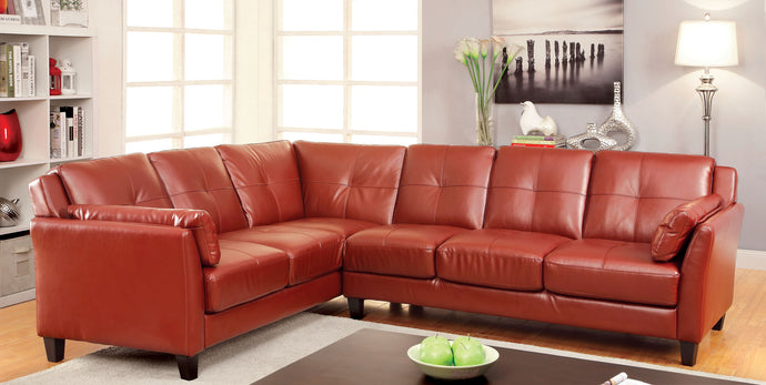 Peever CM6268RD Contemporary Red Leatherette Sectional Sofa Couch