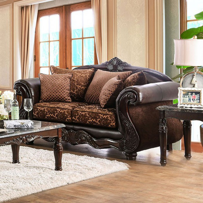 Furniture of America Elpis Brown/Espresso Upholstery Loveseat