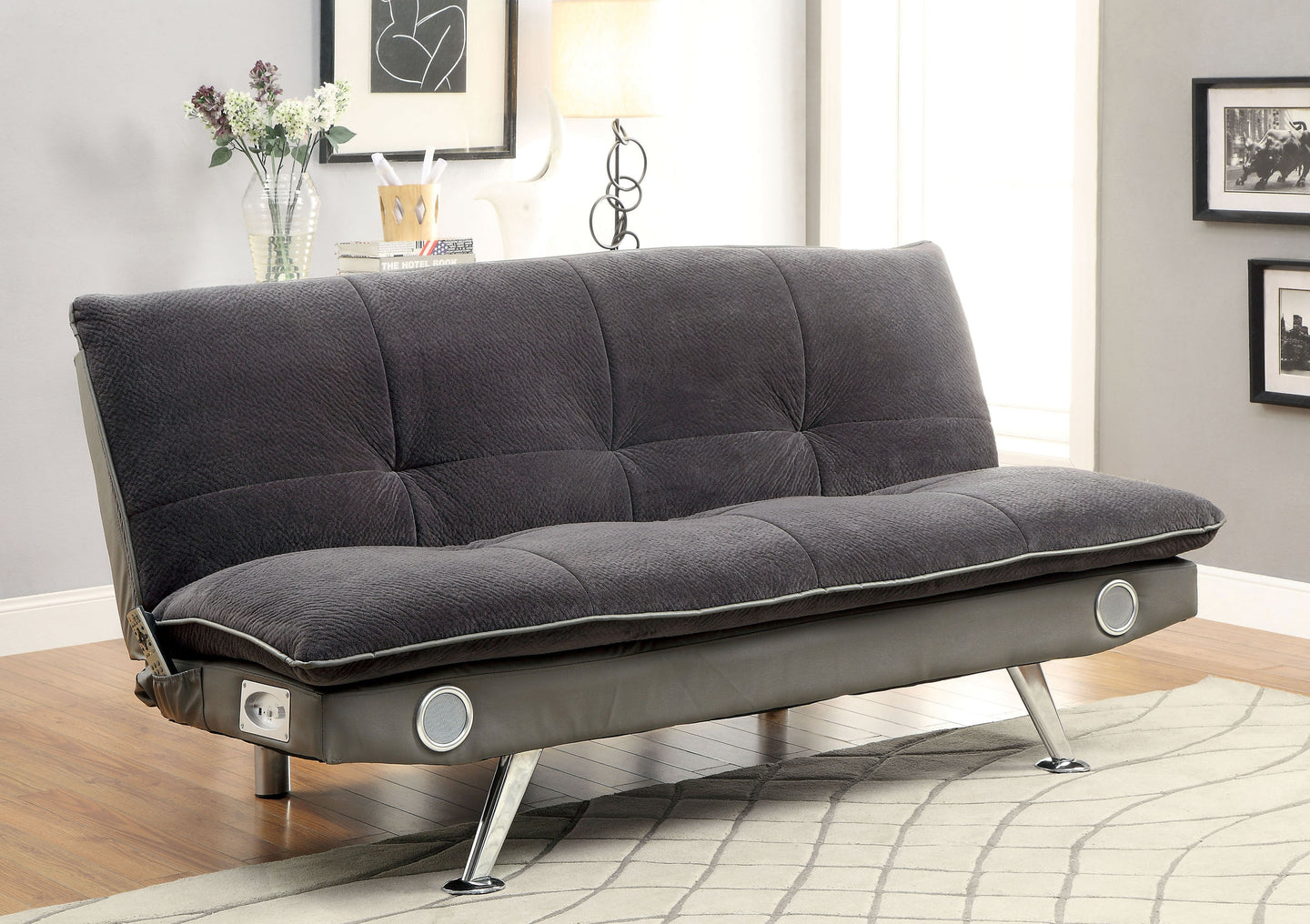 Gallagher CM2675GY Contemporary Gray Champion Fabric Futon Sofa Bed