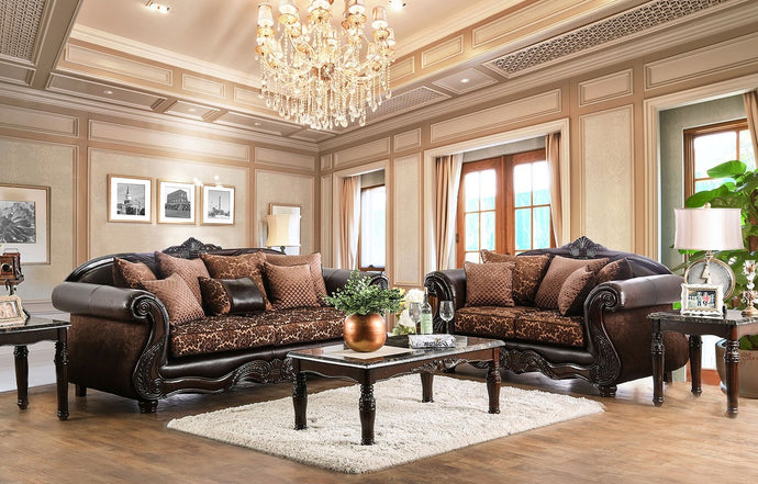 Furniture of America Elpis 2 Piece Brown/Espresso Upholstery Sofa Set