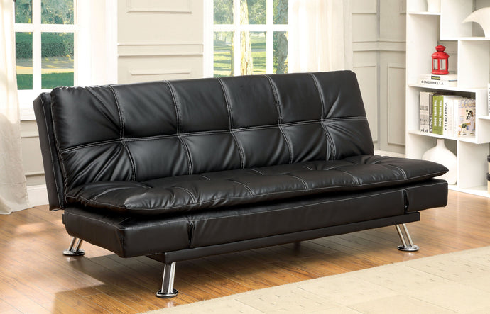 Hauser II CM2677BK Contemporary Black Leatherette Futon sofa Bed