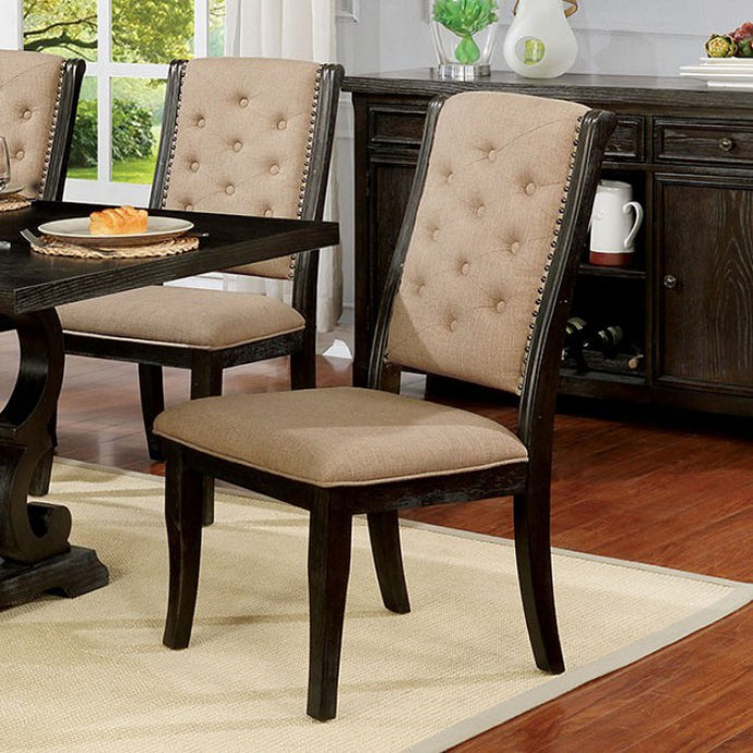 Furniture of America Patience Rustic Dark Walnut Dining Chair Set of 2