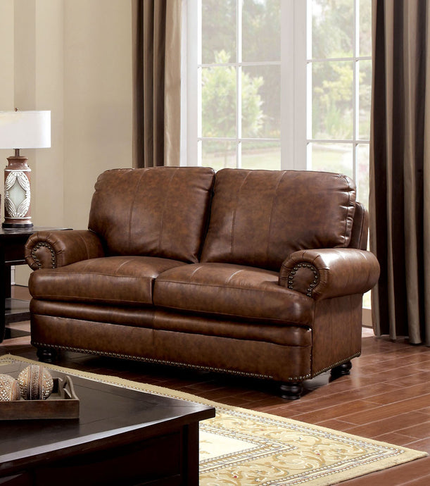 Rheinhardt CM6318-LV Dark Brown Top Grain Leather Match Loveseat