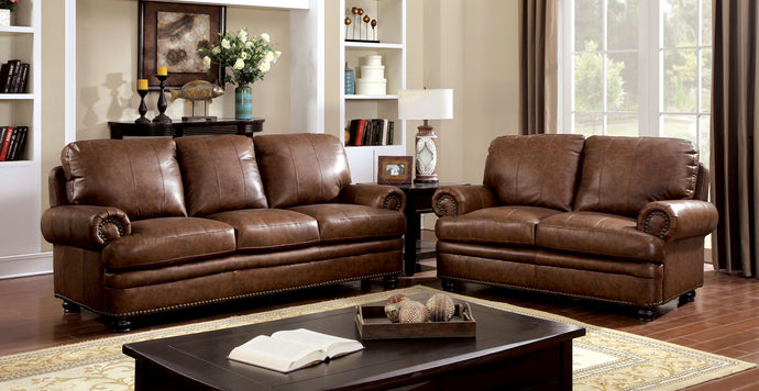 Rheinhardt CM6318 2 Pieces Dark Brown Top Grain Leather Match Sofa Set