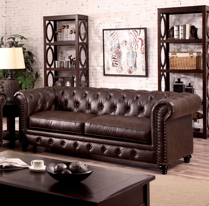 Furniture of America CM6269BR-SF Stanford Brown Leatherette Sofa