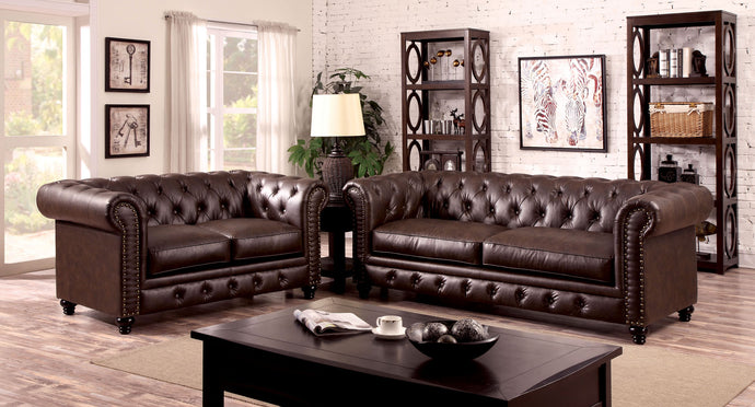 Furniture of America CM6269 Stanford 2 PCs Brown Leatherette Sofa Set