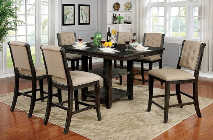 Furniture of America Patience Rustic 7 Piece Counter Height Set