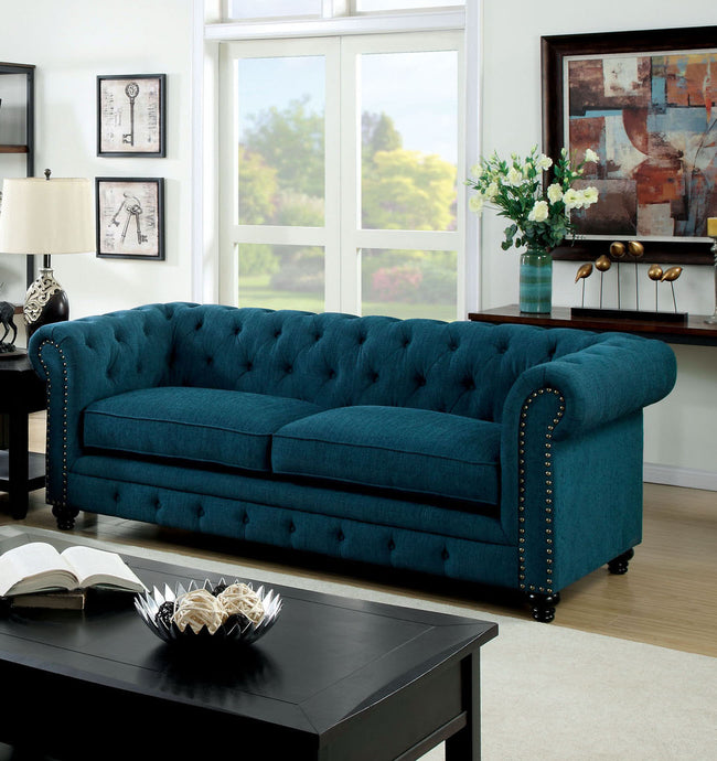 Furniture of America CM6269TL-SF Stanford Dark Teal Fabric Sofa Couch