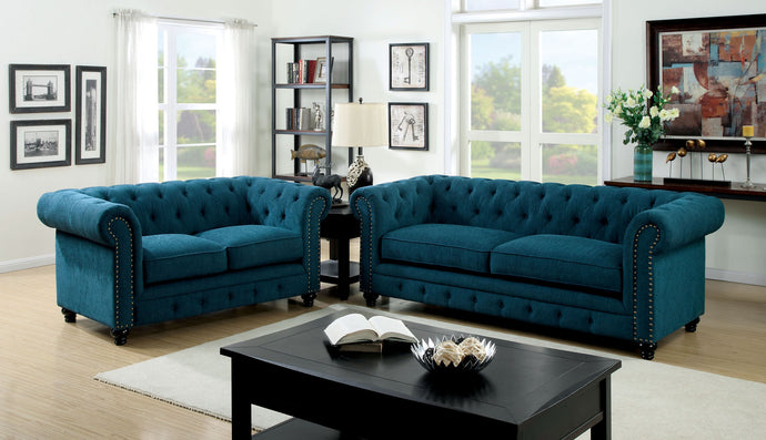 Furniture of America Stanford Dark Teal Polyester Finish 2 Piece Sofa Set