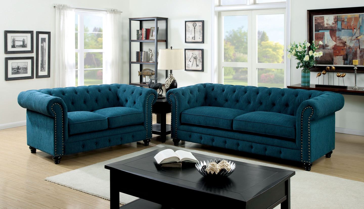 Furniture of America CM6269TL Stanford 2 PCs Dark Teal Fabric Sofa Set