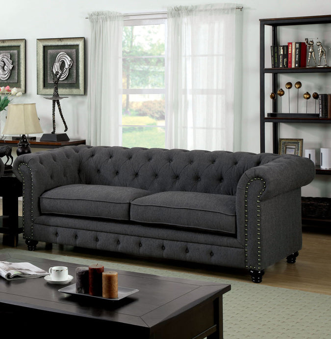 Furniture of America CM6269GY-SF Stanford Gray Fabric Sofa Couch