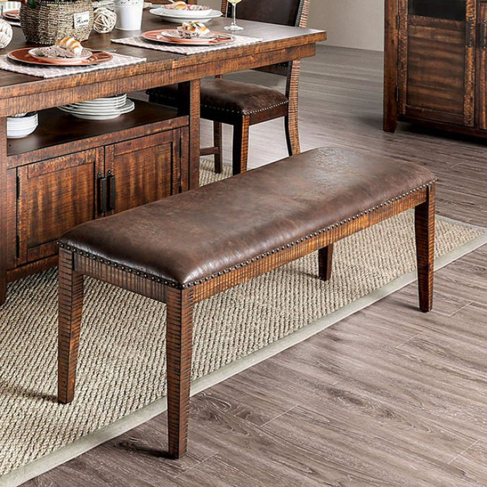 Furniture of America Wichita Rustic Light Walnut Dining Bench