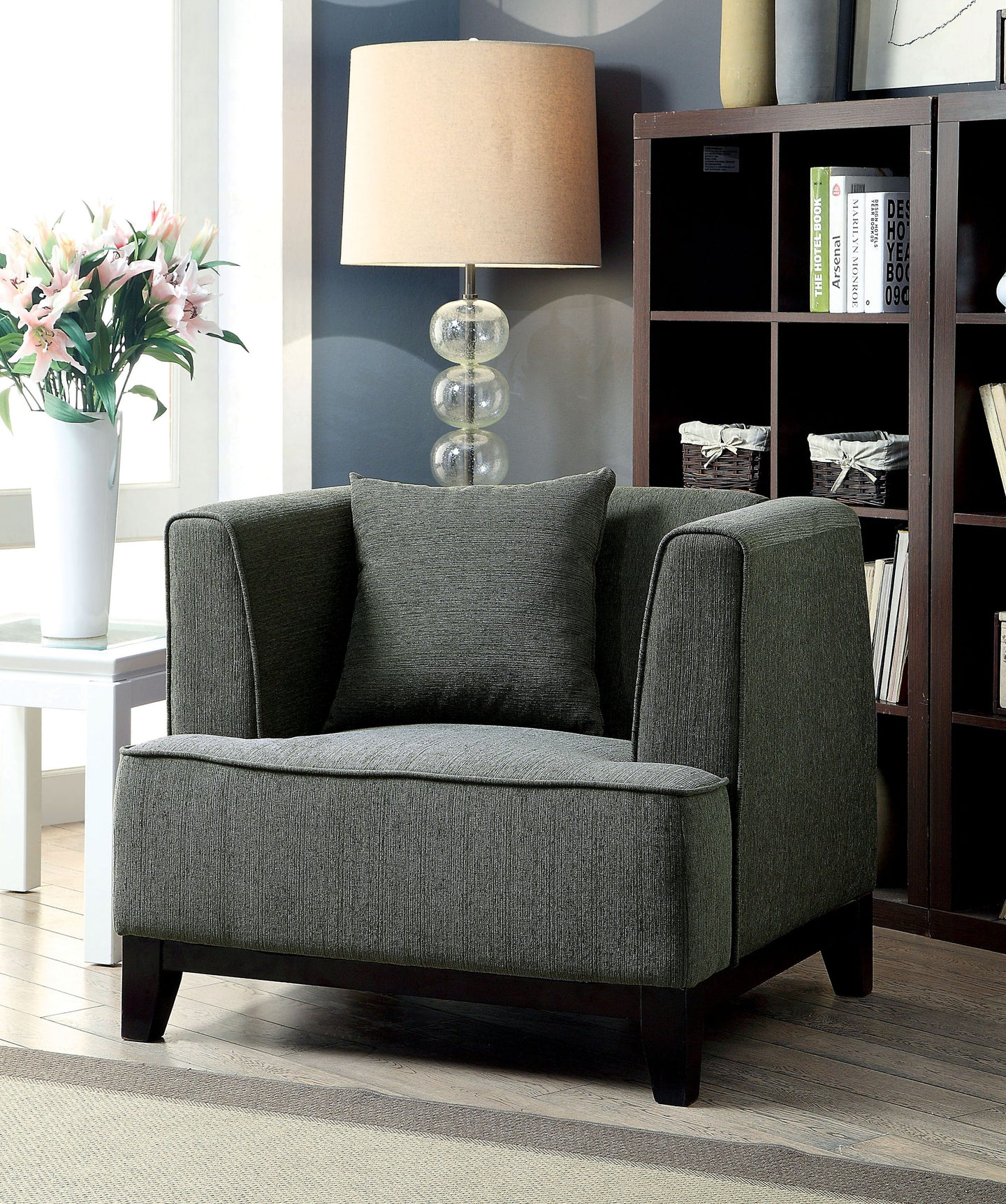 Furniture of America CM6761GY-CH Sofia Gray Fabric Chair