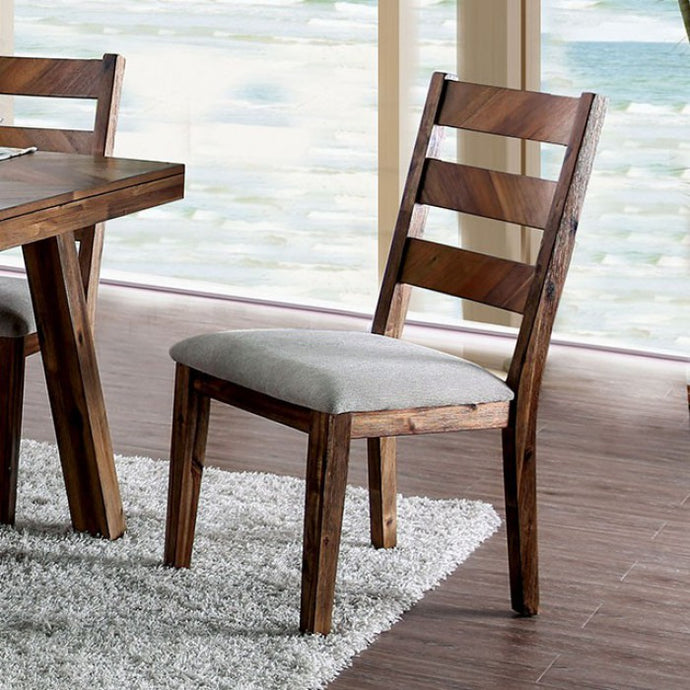Furniture of America Signe Rustic Light Walnut Dining Chair Set of 2