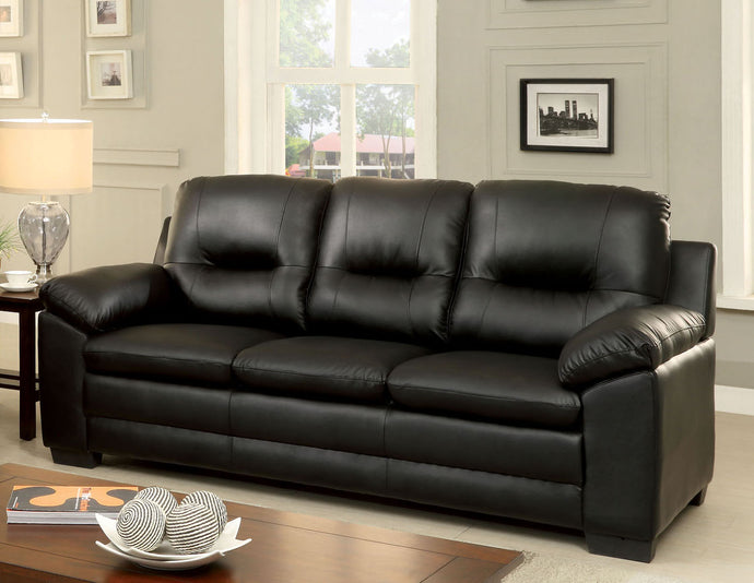Furniture of America CM6324BK-SF Parma Black Leatherette Sofa Couch