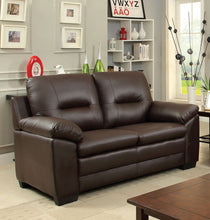Load image into Gallery viewer, Furniture of America CM6324BR-LV Parma Brown Leatherette Loveseat
