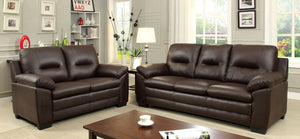 Parma CM6324BR-SF CM6324BR-LV Contemporary Brown Leatherette Sofa Set