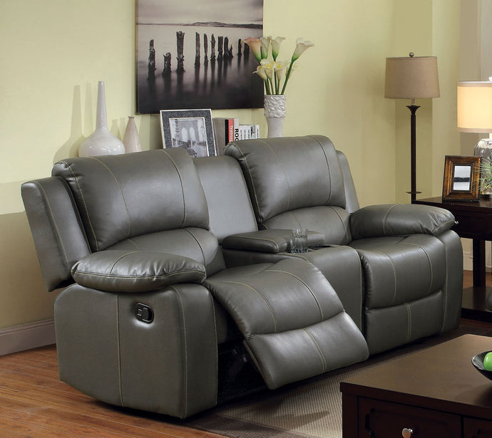 Sarles CM6326-LV Gray Bonded Leather Match Motion Loveseat Cup Holder