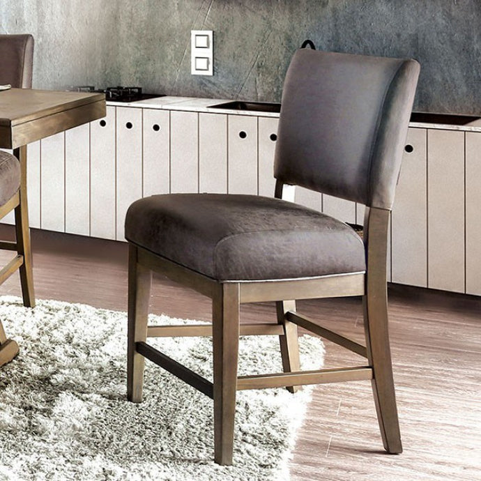 Furniture of America Irving Rustic Gray Counter Height Chair Set of 2