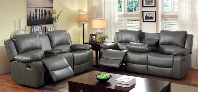 Sarles CM6326 2 Pieces Gray Bonded Leather Match Motion Sofa Set