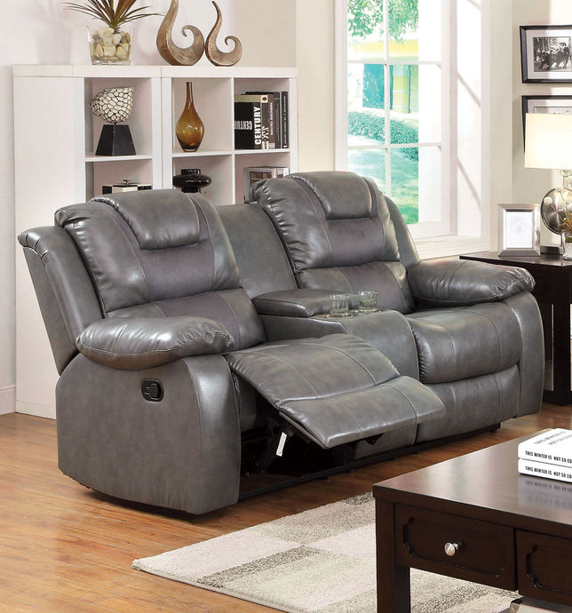 Grandolf CM6813-LV Gray Bonded Leather Match Motion Loveseat