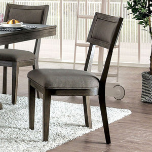 Furniture of America Leeds Gray Finish Dining Chair Set of 2