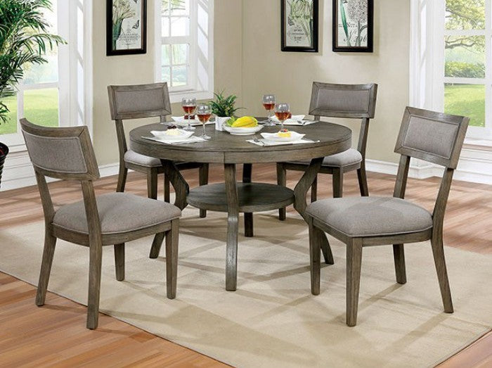 Furniture of America 5 Piece Leeds Gray Finish Round Dining Table Set