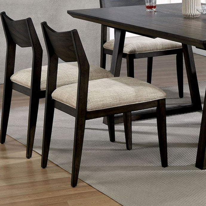 Furniture of America Meridian Dark Walnut Finish Dining Chair Set of 2