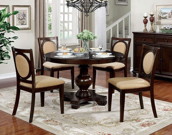 Furniture of America 5 Piece Abergele Brown Cherry Round Dining Set