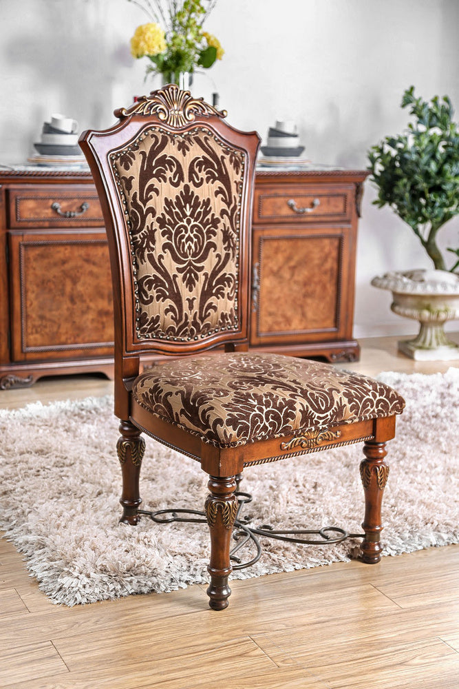 Furniture of America Lucie Brown Cherry Dining Chair Set of 2