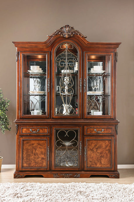 Furniture of America Lucie Brown Cherry Hutch & Buffet