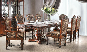 Furniture of America Lucie Traditional Brown 9 Piece Dining Table Set