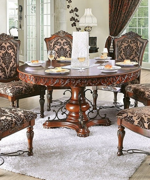 Furniture of America Lucie Traditional Brown Cherry Round Dining Table
