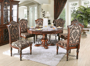 Furniture of America Lucie Traditional Brown 7 Piece Round Dining Set