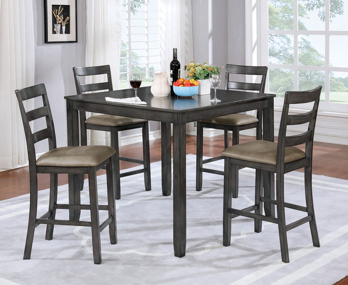Furniture of America 5 Piece Gloria Gray Counter Height Set