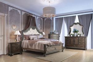 Ariadne Rustic Wood Finish 4 Piece Traditional Eastern King Bed Set