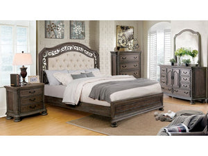 Persephone Rustic Natural Wood 4 Piece Finish Traditional Queen Bed Set